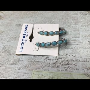 Lucky Brand Reconstituted Turquoise Hoop Earrings